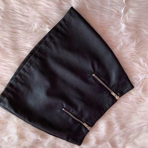 Faux Black Leather Mini Skirt